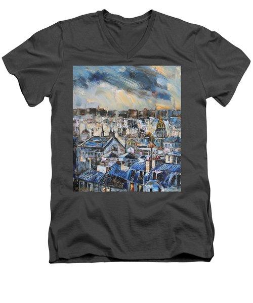 Mansards In Blue Men's V-Neck T-Shirt