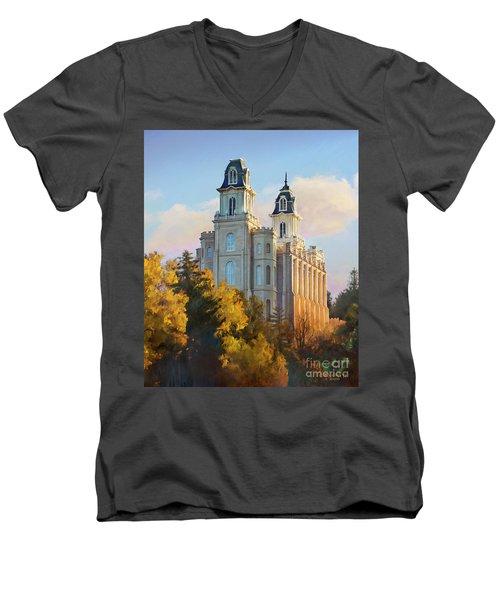Manti Temple Tall Men's V-Neck T-Shirt by Rob Corsetti