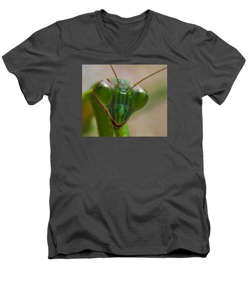 Mantis Face Men's V-Neck T-Shirt by Jonny D