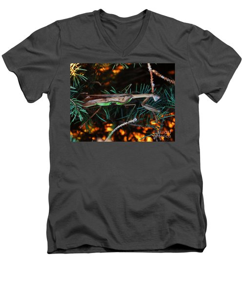Men's V-Neck T-Shirt featuring the photograph Mantis  by J L Zarek