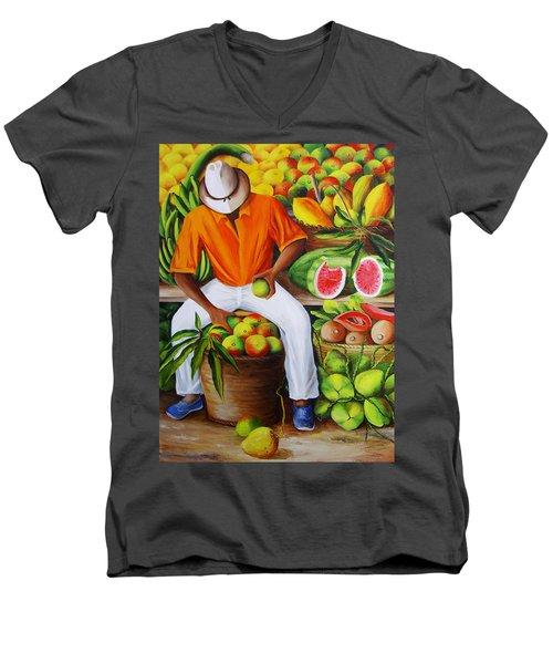 Manuel The Caribbean Fruit Vendor  Men's V-Neck T-Shirt