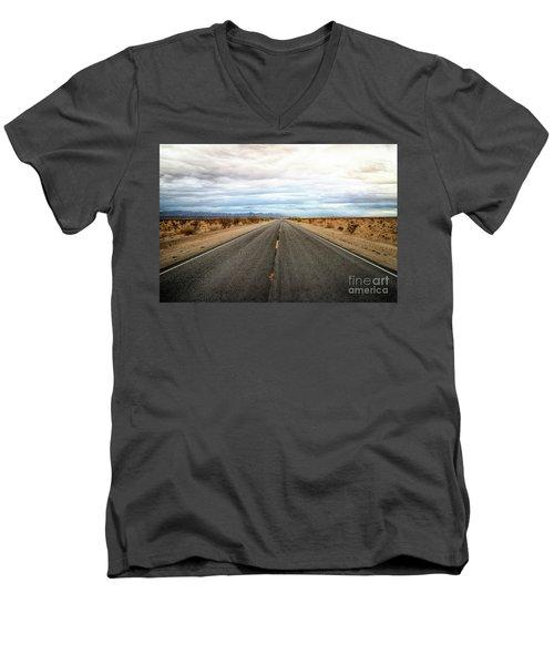 Many Miles Through Mojave Desert Men's V-Neck T-Shirt