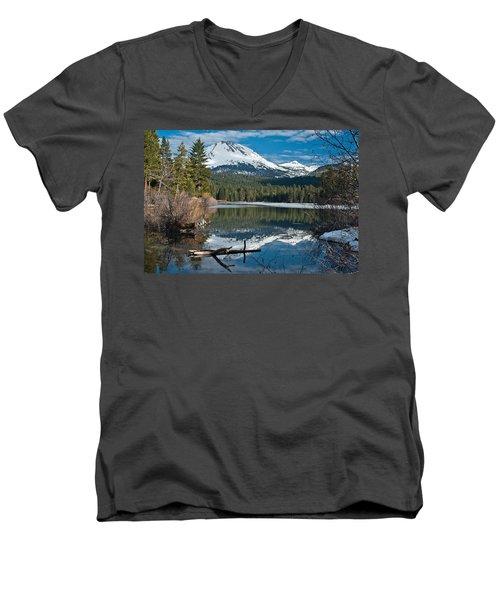 Manzanita Lake Reflects On Mount Lassen Men's V-Neck T-Shirt