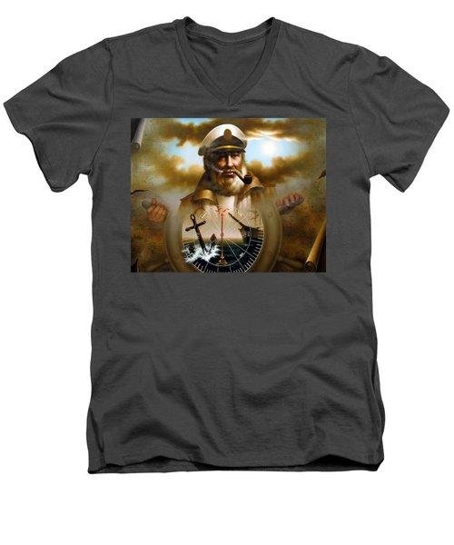 Map Captain 8 Men's V-Neck T-Shirt