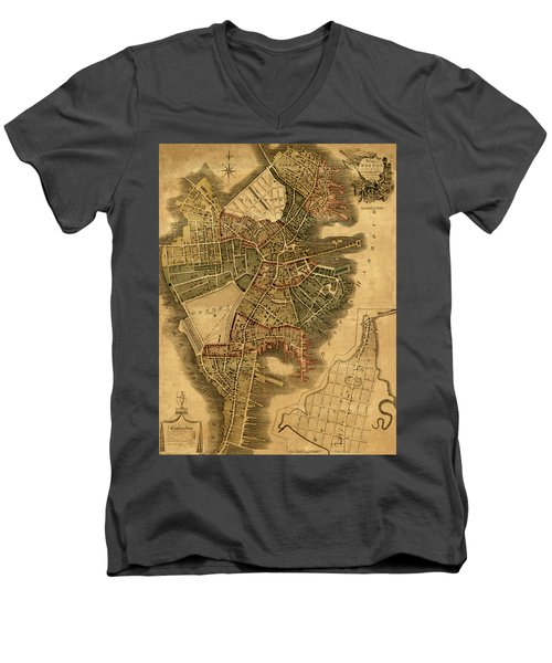 Map Of Boston 1814 Men's V-Neck T-Shirt by Andrew Fare