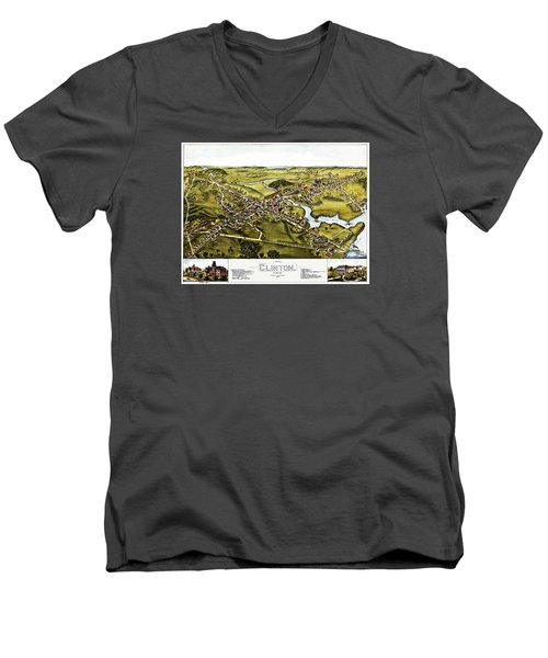 Map Of Clinton Connecticut 1881 Men's V-Neck T-Shirt by Phil Cardamone