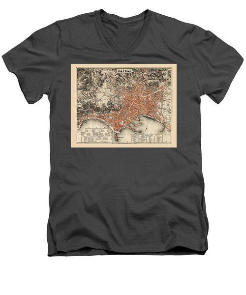 Map Of Naples 1860 Men's V-Neck T-Shirt by Andrew Fare