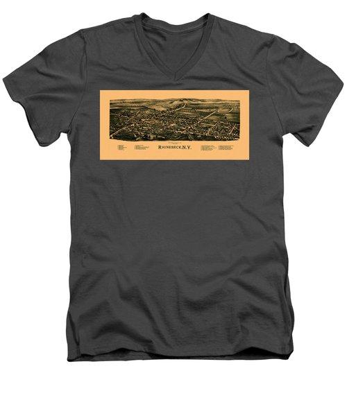 Map Of Rhinebeck 1890 Men's V-Neck T-Shirt