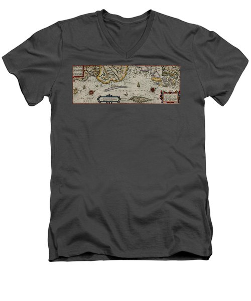 Map Of Sweden 1606 Men's V-Neck T-Shirt by Andrew Fare