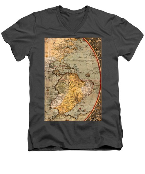 Map Of The Americas 1570 Men's V-Neck T-Shirt by Andrew Fare