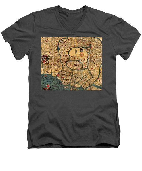 Map Of Tokyo 1845 Men's V-Neck T-Shirt by Andrew Fare