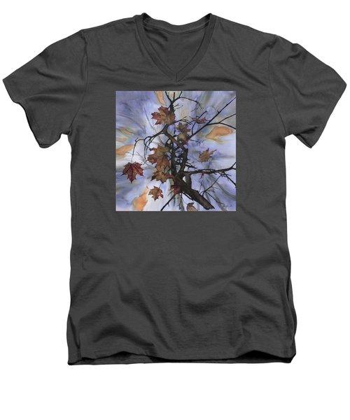 Maple Autumn Splash Men's V-Neck T-Shirt by Carolyn Doe