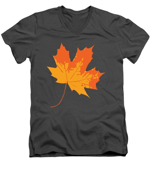 Men's V-Neck T-Shirt featuring the digital art Maple Leaf by Jennifer Hotai