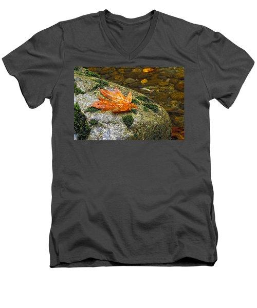 Maple Leaf On A Rock Men's V-Neck T-Shirt