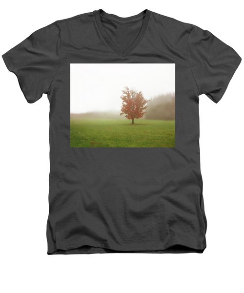 Men's V-Neck T-Shirt featuring the photograph Maple Tree In Fog With Fall Colors  by Brooke T Ryan