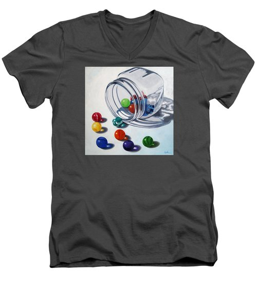 Marbles And Glass Jar Still Life Painting Men's V-Neck T-Shirt by Linda Apple