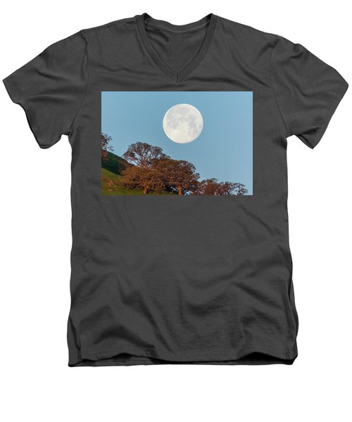 Men's V-Neck T-Shirt featuring the photograph March Moonset by Marc Crumpler