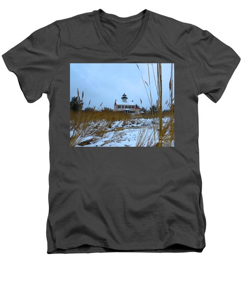 March Snow At East Point Lighthouse Men's V-Neck T-Shirt by Nancy Patterson