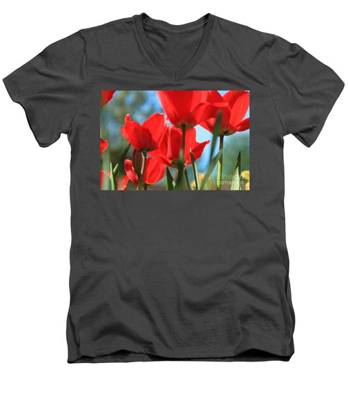 March Tulips Men's V-Neck T-Shirt by Jeanette French