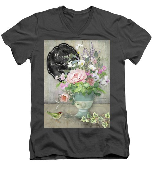 Men's V-Neck T-Shirt featuring the painting Marche Aux Fleurs 3 Peony Tulips Sweet Peas Lavender And Bird by Audrey Jeanne Roberts