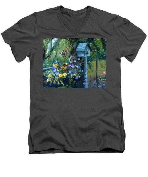 Marcia's Garden Men's V-Neck T-Shirt by Donna Tuten