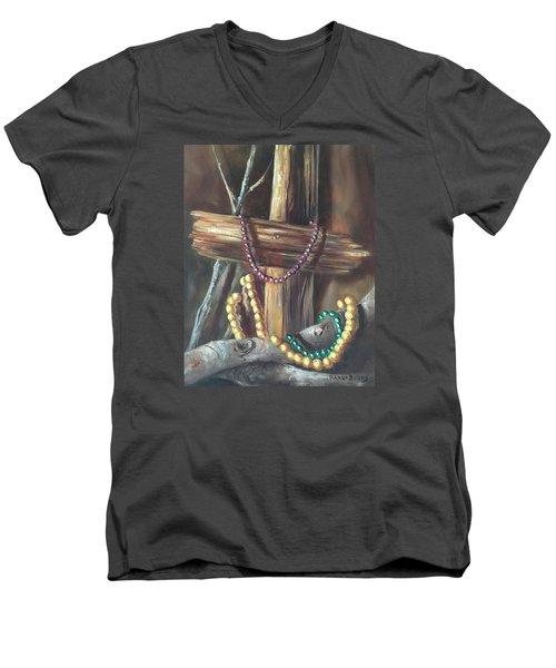 Mardi Gras Beads And Hurricane Katrina Men's V-Neck T-Shirt by Randy Burns