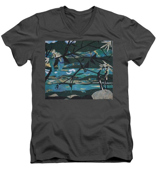 Mardi Gras Macaws Carnival Through A Birdseye View  Men's V-Neck T-Shirt by Robin Miller-Bookhout