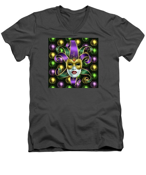Men's V-Neck T-Shirt featuring the photograph Mardi Gras Mask And Beads by Gary Crockett