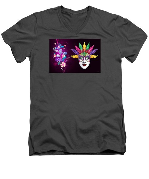 Men's V-Neck T-Shirt featuring the photograph Mardi Gras Mask On Floral Background by Gary Crockett