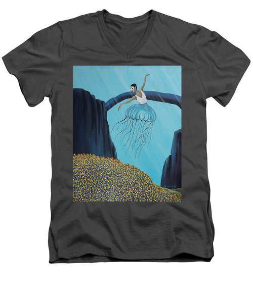 Men's V-Neck T-Shirt featuring the painting Mare Ballerina by Edwin Alverio