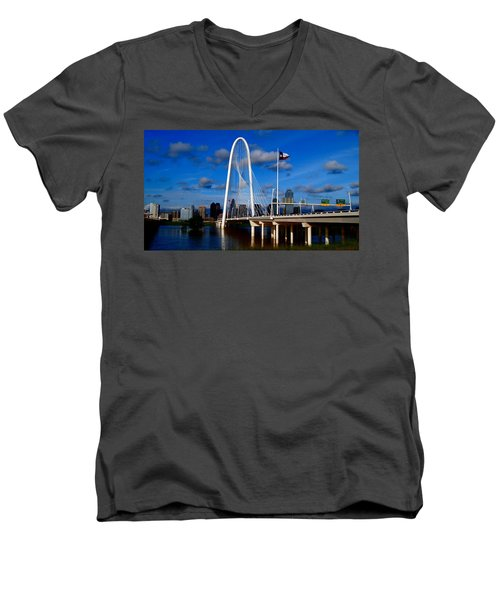 Margaret Hunt Hill Bridge Dallas Flood Men's V-Neck T-Shirt