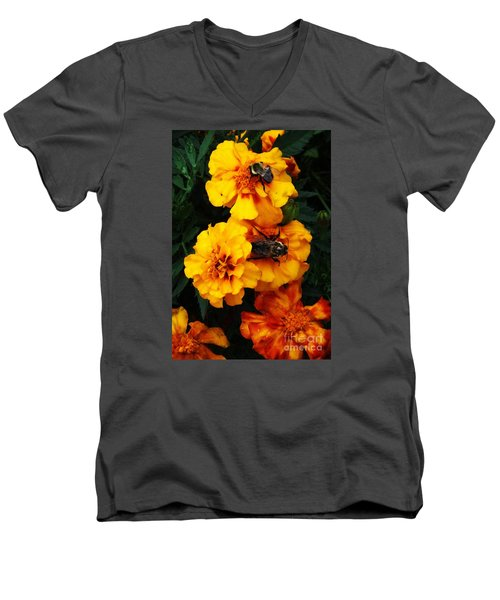 Men's V-Neck T-Shirt featuring the photograph Marigold Cluster by J L Zarek