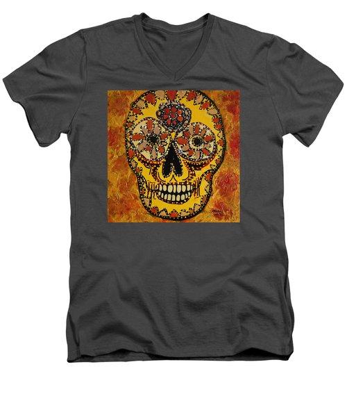 Marigold Skull Men's V-Neck T-Shirt