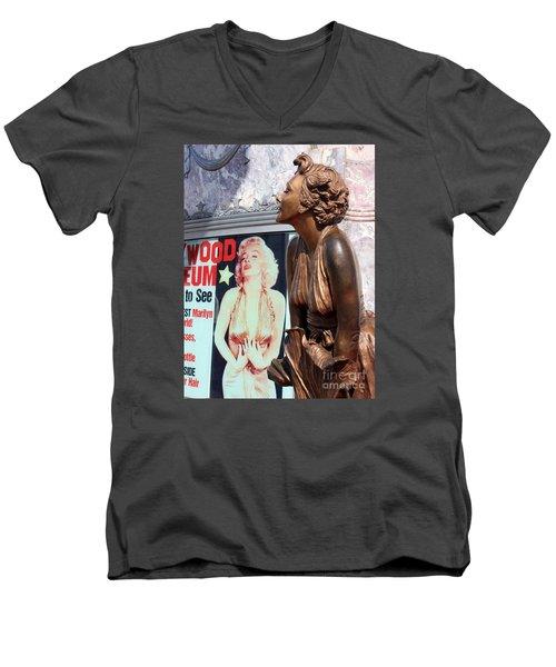 Marilyn Men's V-Neck T-Shirt by Cheryl Del Toro