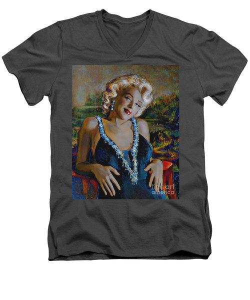 Marilyn Monroe 126 Monalisa Men's V-Neck T-Shirt