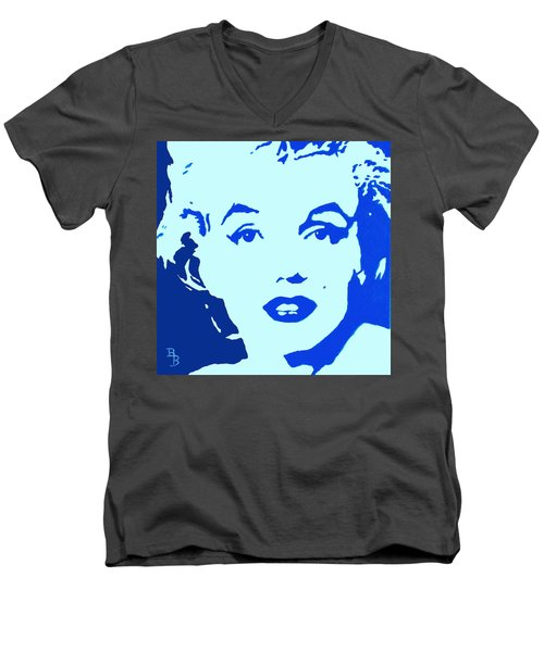 Marilyn Monroe Blue Pop Art Portrait Men's V-Neck T-Shirt by Bob Baker