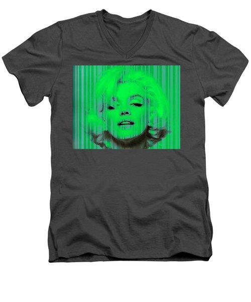 Marilyn Monroe In Green Men's V-Neck T-Shirt by Kim Gauge