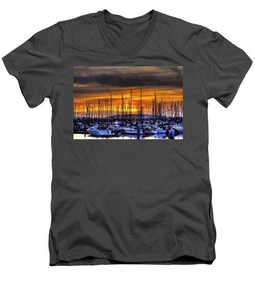 Marina At Sunset Men's V-Neck T-Shirt
