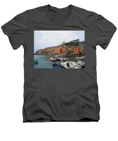 Men's V-Neck T-Shirt featuring the photograph Marina Of Color by Christin Brodie