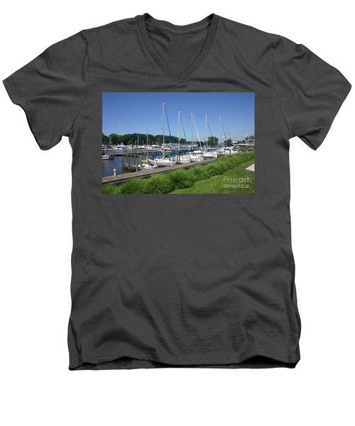 Marina On Black River Men's V-Neck T-Shirt