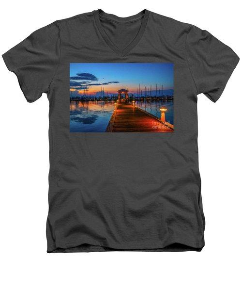 Marina Sunrise Men's V-Neck T-Shirt by Tom Claud
