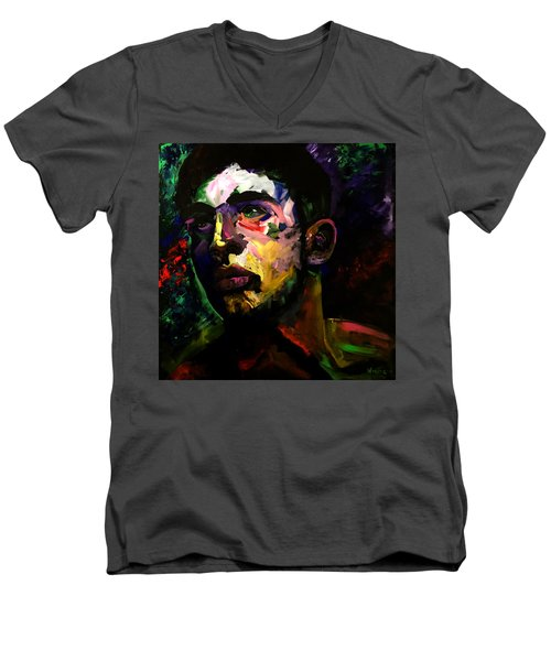 Men's V-Neck T-Shirt featuring the painting Mark Webster Artist - Dave C. 0410 by Mark Webster Artist