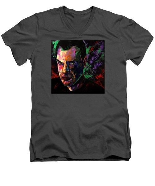 Men's V-Neck T-Shirt featuring the painting Mark Webster Artist by Mark Webster