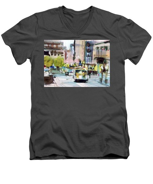 Men's V-Neck T-Shirt featuring the painting Market Street by Ed Heaton