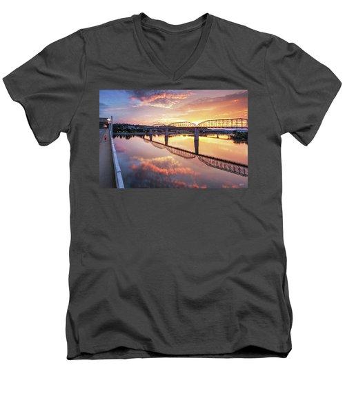 Market Street Jog At Sunrise Men's V-Neck T-Shirt by Steven Llorca