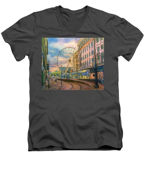 Market Street Metrolink Tramstop With The Manchester Wheel  Men's V-Neck T-Shirt