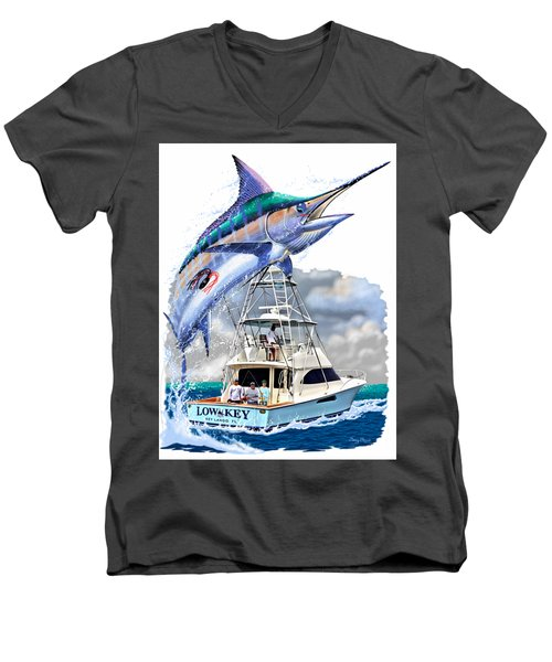 Marlin Commission  Men's V-Neck T-Shirt by Carey Chen