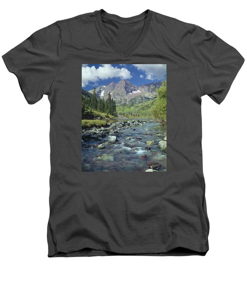 210404-maroon Bells And Creek  Men's V-Neck T-Shirt