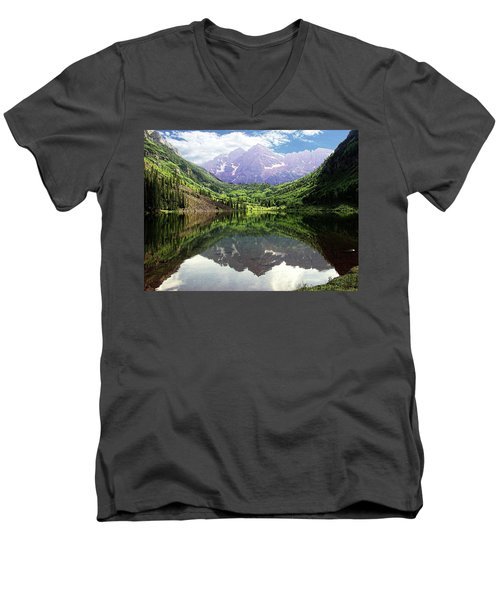 Maroon Bells  Men's V-Neck T-Shirt by Jerry Battle