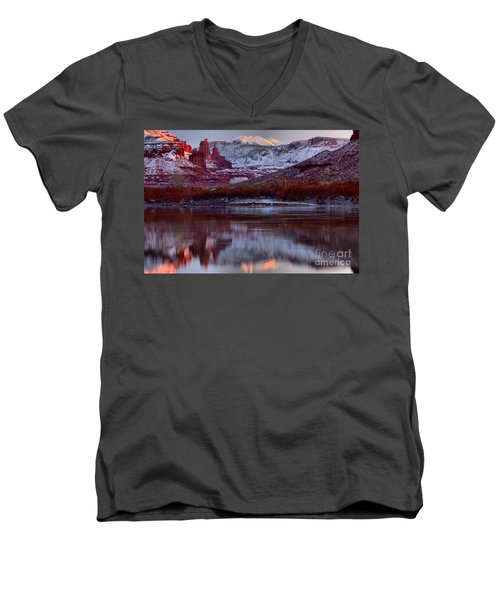 Men's V-Neck T-Shirt featuring the photograph Maroon Fisher Towers by Adam Jewell